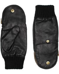 Kurt Geiger - Leather & Knit Mittens - Lyst