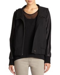 Helmut Lang Moto Stretch Leathersleeved Bomber Jacket - Lyst
