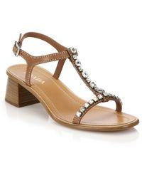 Prada Swarovski Crystal Leather Sandals - Lyst