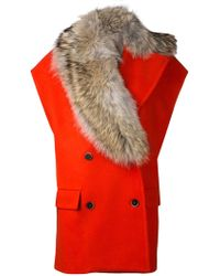 MSGM Fur Collar Sleeveless Coat - Lyst