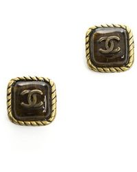 Chanel Preowned Amber Stone Cc Square Stud Earrings - Lyst