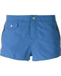 Emporio Armani Small Logo Stripe Swim Shorts - Lyst
