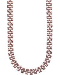 Anne Klein - Rose Gold Crystal Tubular Necklace - Lyst
