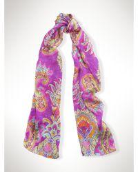 Ralph Lauren Large Silk Watercolor Scarf purple - Lyst