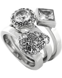Vince Camuto - Silver-Tone And Mixed Glitz Ring Set - 3 - Lyst