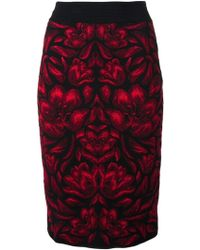 Alexander McQueen Red Jacquard Skirt - Lyst