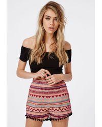 Missguided - Annabella Premium Aztec Pom Pom Trim Shorts - Lyst