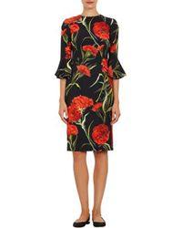 Dolce & Gabbana Carnation Bell-cuff Sheath Dress - Lyst