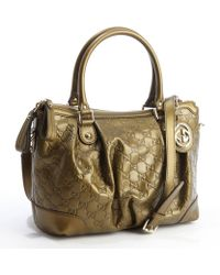 Gucci Gold Leather Ssima Pattern Convertible Tote Bag - Lyst