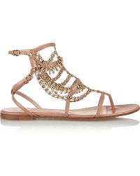 Gianvito Rossi Gitana Chain-Embellished Leather Sandals - Lyst