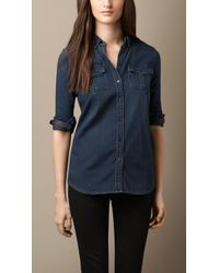 Burberry Button-Down Denim Shirt - Lyst