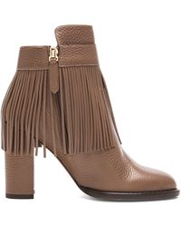Valentino Rockee Fringe Ankle Leather Booties - Lyst
