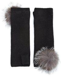 Portolano | Fox Fur Pom-pom Cashmere Fingerless Gloves | Lyst