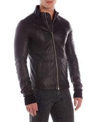 Rick Owens Black Lamb Leather Jacket - Lyst