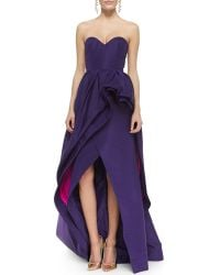 Oscar de la Renta Strapless Tiered Bustle Highlow Gown - Lyst