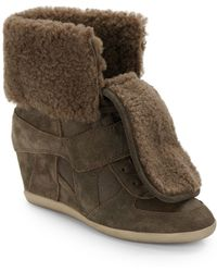 Ash Boogy Shearling & Suede Wedge High-Top Sneakers - Lyst