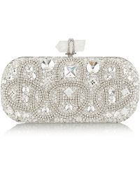 Marchesa Lily Medium Embroidered Stone Box Clutch Clear - Lyst