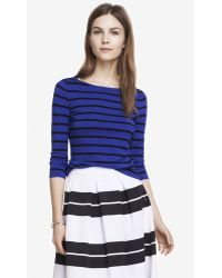 Express Striped Fitted Bateau Neck Sweater - Lyst