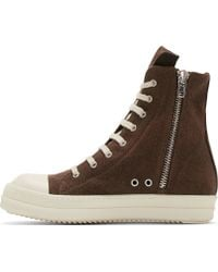 DRKSHDW by Rick Owens Brown Denim High Top Geo Sneakers - Lyst