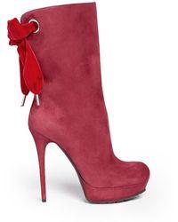 Alexander McQueen Velvet Bow Suede Boots - Lyst