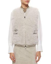 Brunello Cucinelli Reversible Cashmere & Fur Zip Vest - Lyst