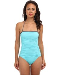 Tommy Bahama Deck Piping Shirred Bandeau Cup Onepiece - Lyst
