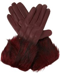 Ted Baker Faux Fur Trimmed Gloves - Lyst