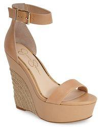 Jessica Simpson 'Arista' Wedge Sandal beige - Lyst