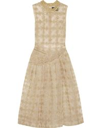 Simone Rocha Metallicembroidered Tulle Midi Dress - Lyst