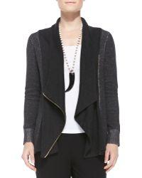 Eileen Fisher Draped Organic Cotton Zip Cardigan - Lyst