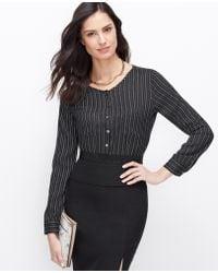 Ann Taylor Pindot Stripe Pocket Blouse - Lyst