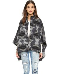 Re:named - Printed Poncho - Grey - Lyst