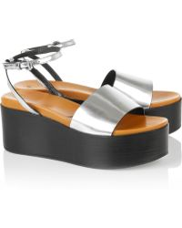 McQ by Alexander McQueen Lotta Metallic Leather Wedge Sandals - Lyst