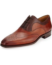 Magnanni For Neiman Marcus Two-tone Perforated Oxford - Lyst