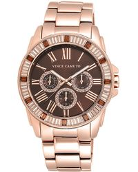 Vince Camuto - Vc5158bnrg Crystal-accented Rose Goldtone Stainless Steel Bracelet Watch - Lyst