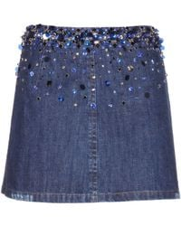 Miu Miu Embellished Denim Mini Skirt - Lyst