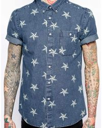 Asos Denim Shirt in Short Sleeve with Star Print - Lyst