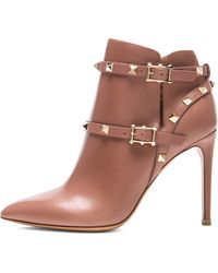 Valentino Rockstud Leather Booties - Lyst