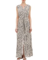 Barneys New York Pythonprint Long Sleeveless Shirtdress - Lyst