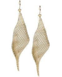 Steve Madden Goldtone Mesh Drop Earrings - Lyst
