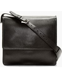 Alexander McQueen Black Leather Messenger Bag - Lyst