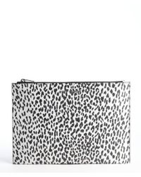 Saint Laurent White and Black Babycat Printed Leather Cosmetic Case - Lyst
