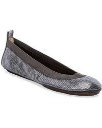 Yosi Samra Samara Lagarto Metallic Leather Fold Up Flat - Lyst