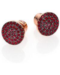 Michael Kors Brilliance Rose PavÉ Disc Stud Earrings pink - Lyst