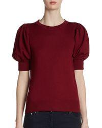 Fendi Fleece Wool Puff Sleeve Sweater - Lyst