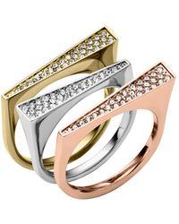 Michael Kors Tri Tone Glitz Stackable Ring Set - Lyst