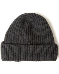 John Smedley - Charcoal Silt Chunky Rib Knit Cotton Beanie - Lyst