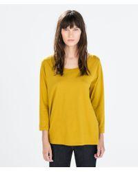 Zara Yellow Cotton Tshirt - Lyst