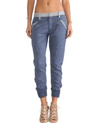7 For All Mankind Drapey Contrast Pant - Lyst