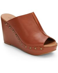 Lucky Brand Malayah Studded Leather Wedge Sandals - Lyst